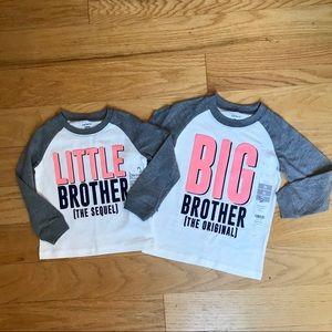 NWT Carter's little/big brother tee bundle